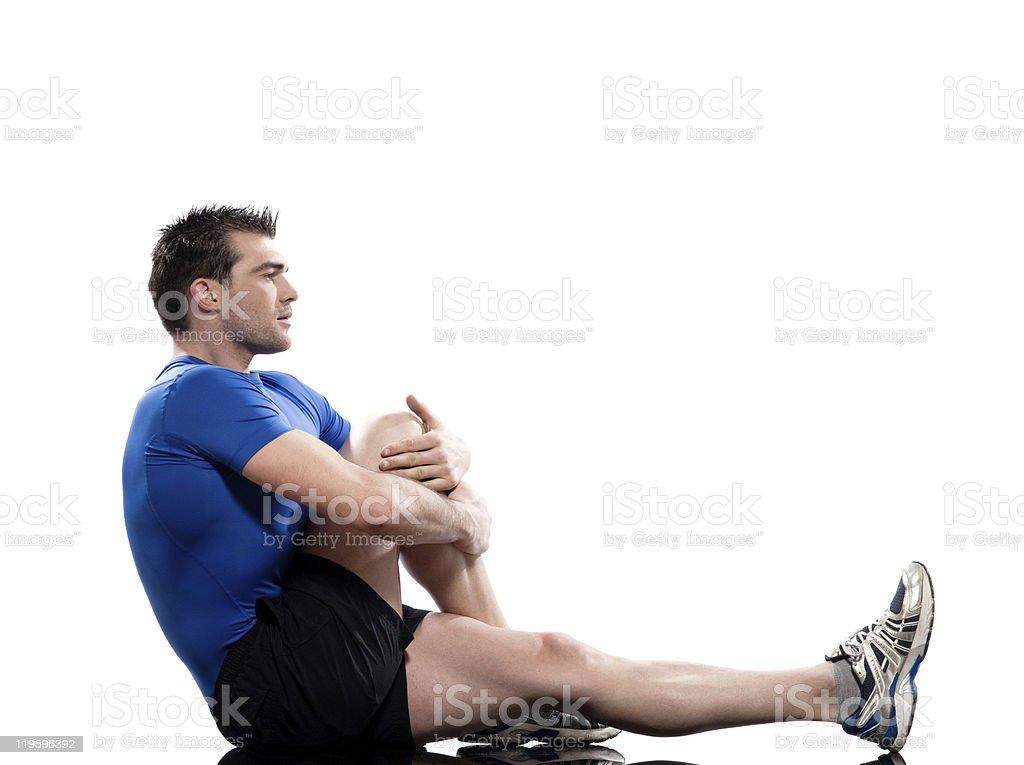 Man Workout Posture Yoga Marichyasana stock photo