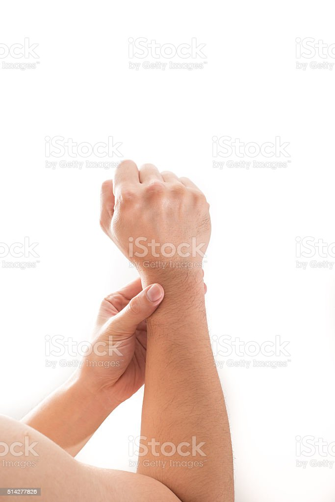 Man wrist pain concept. stock photo