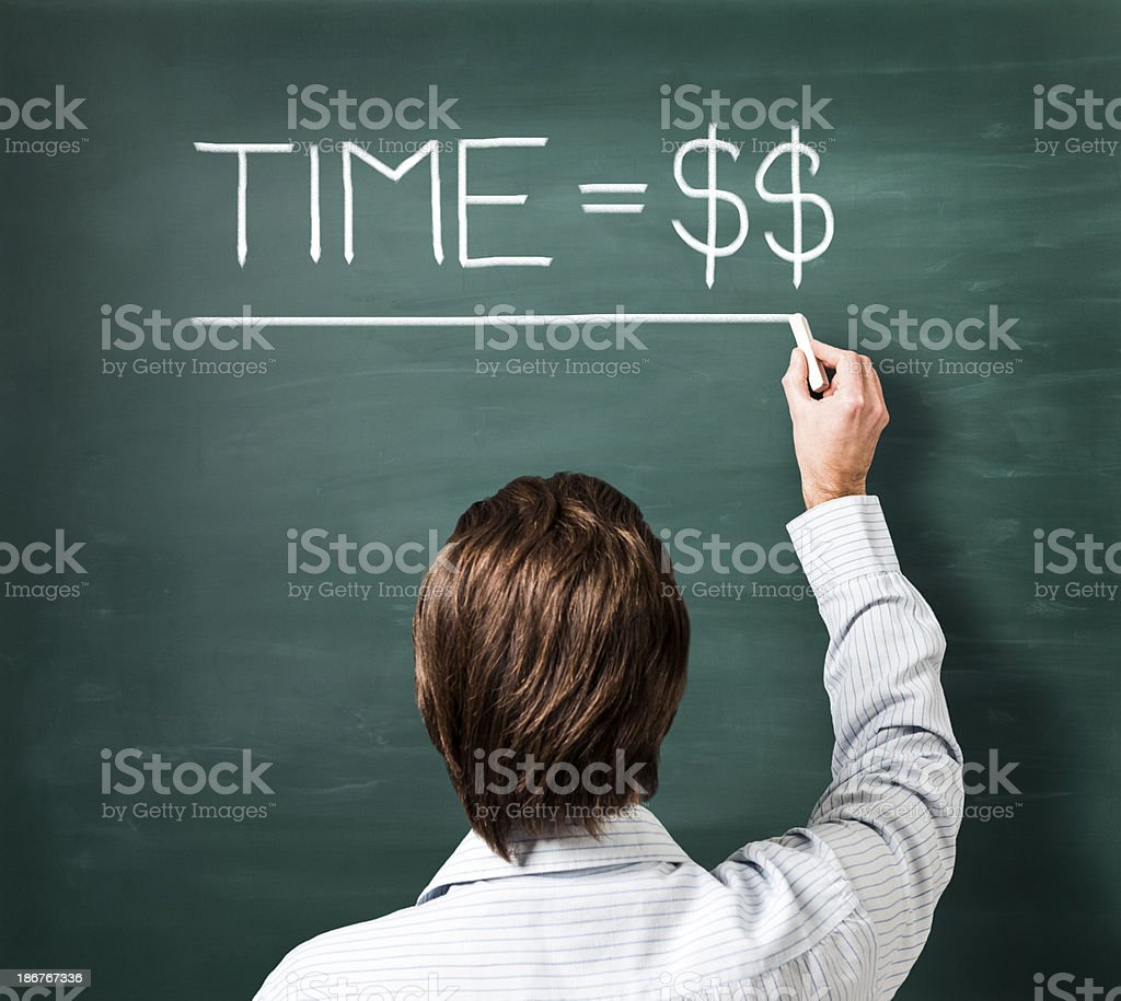 Man writing on blackboard sentence - time is money stock photo