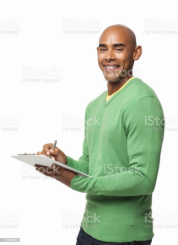Man Writing On Clipboard - Isolated royalty-free stock photo