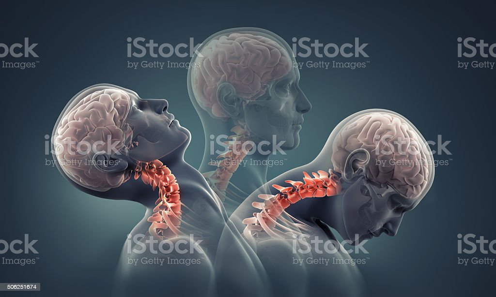 man x-ray with neck bones highlighted stock photo