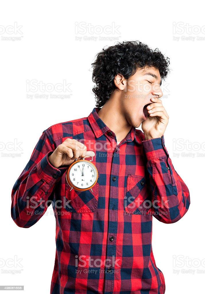 Man yawning isolated on white stock photo