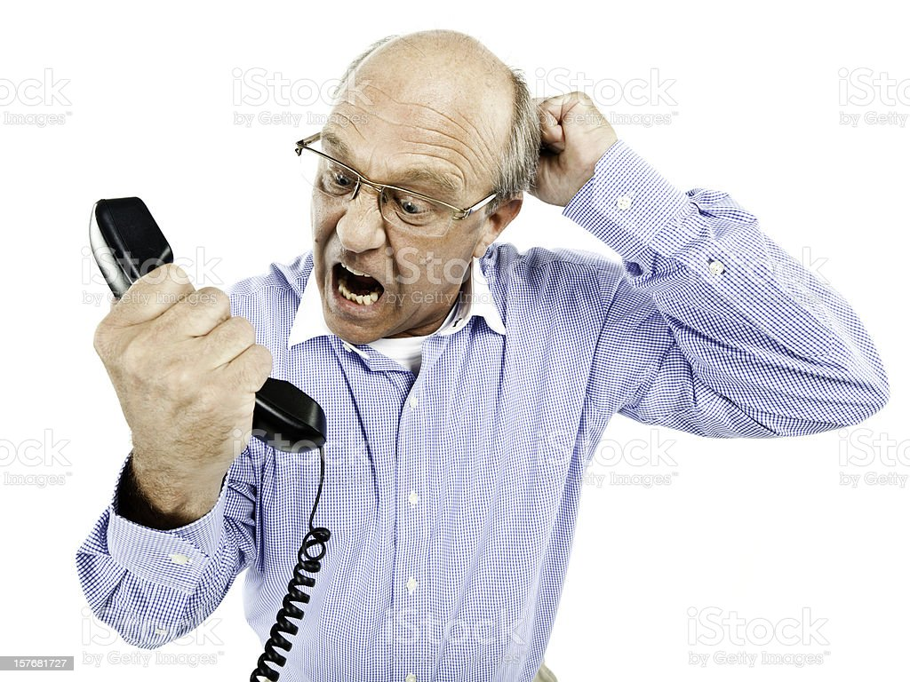 Man Yelling into a Phone - Isolated royalty-free stock photo