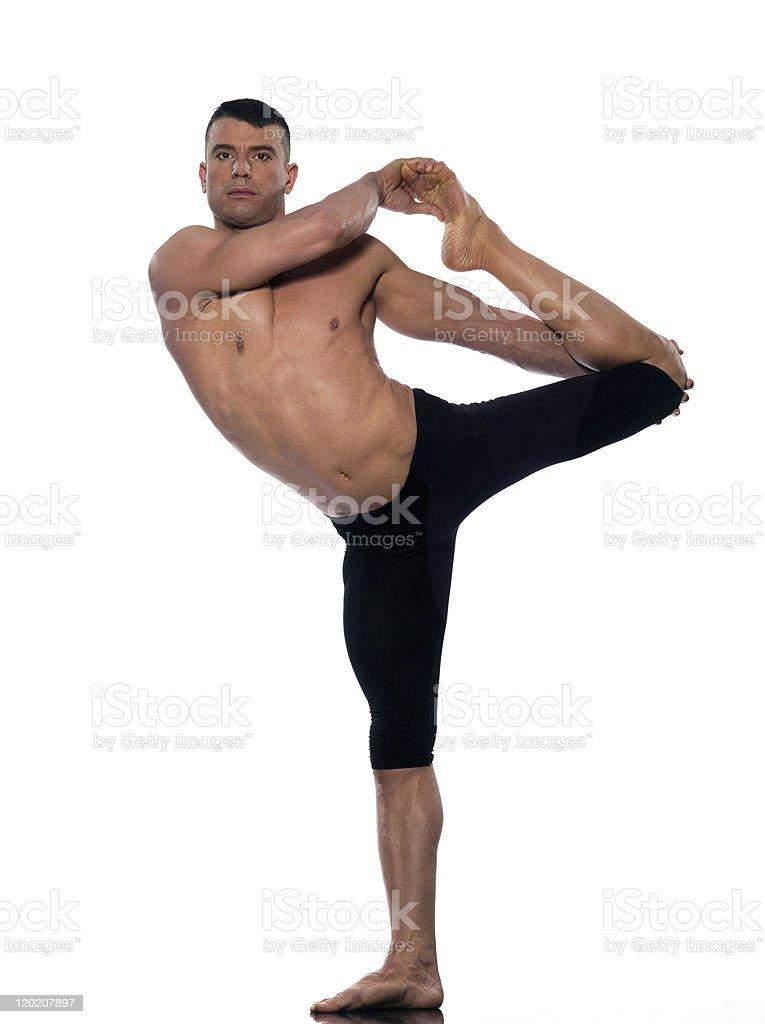 Man yoga asanas natarajasana dancer pose royalty-free stock photo