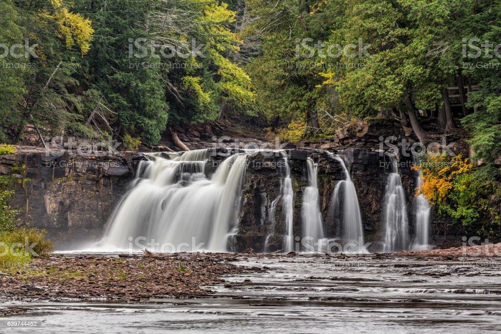 Manabezho Falls Autumn stock photo