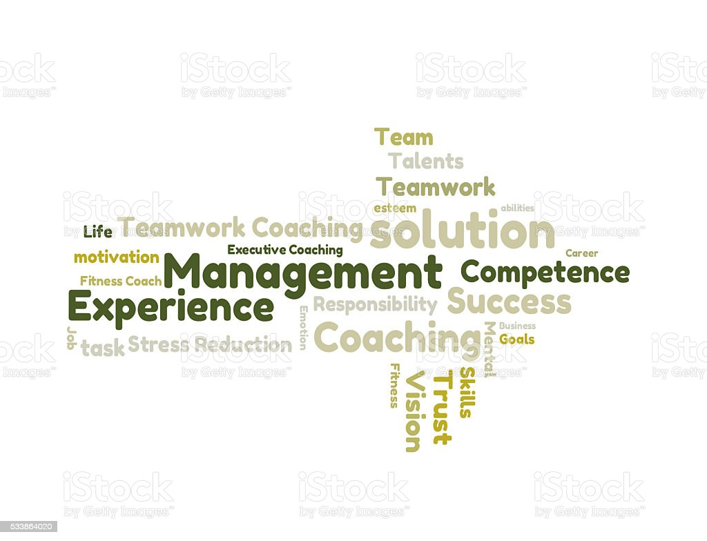 Management experience word cloud stock photo