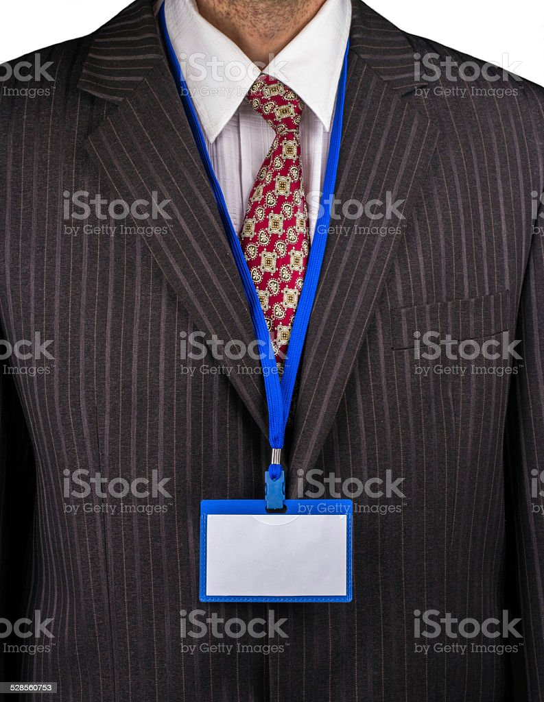 Manager and badge stock photo