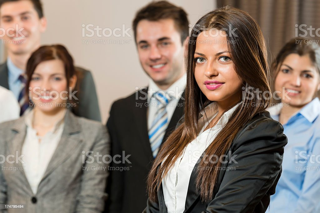 Manager and her team royalty-free stock photo