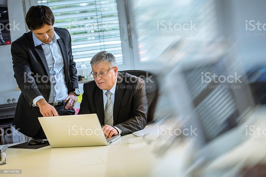 Manager and his assistant stock photo
