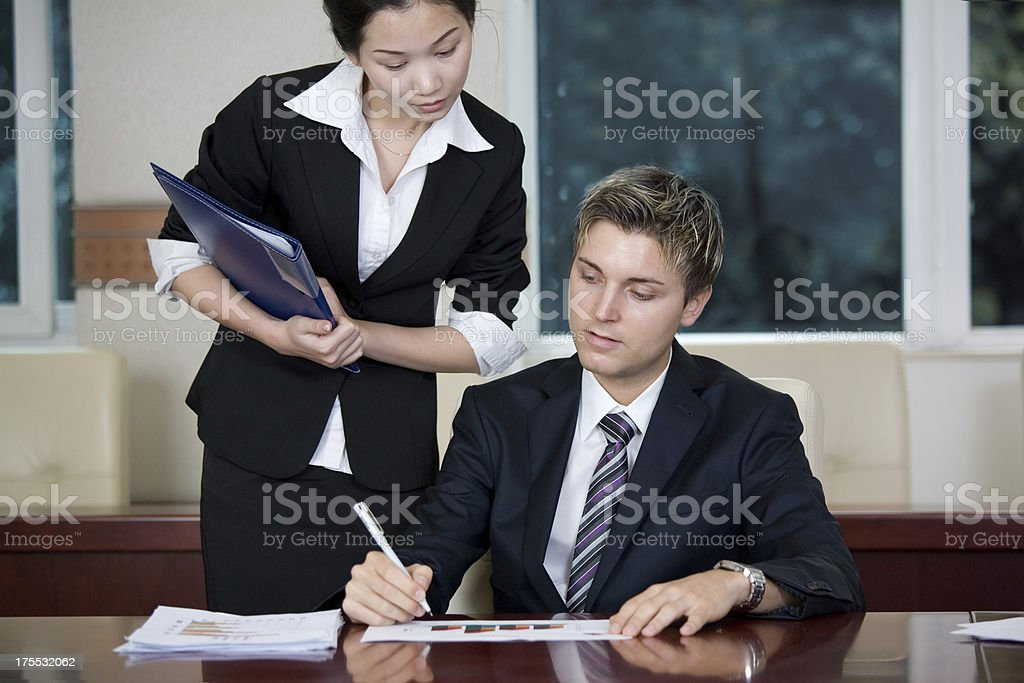 manager and secretary royalty-free stock photo
