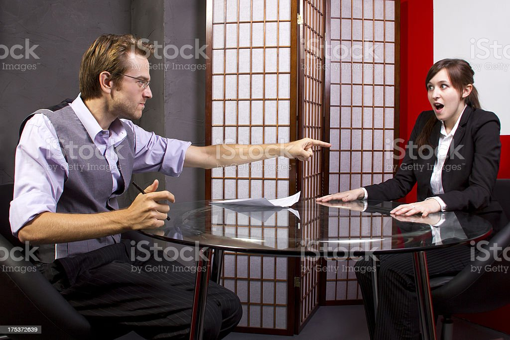 Manager Angry at an Employee or Workers Poor Job Performance royalty-free stock photo