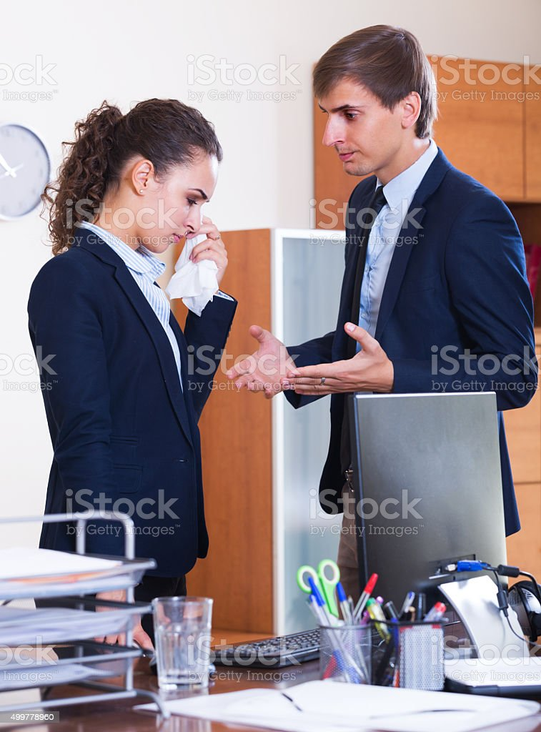 Manager arguing with subordinate official stock photo