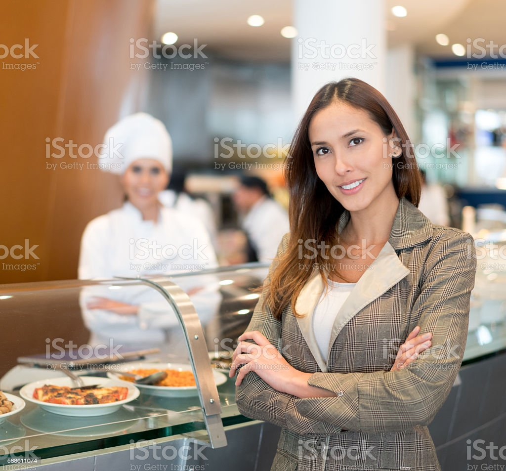 Manager at a restaurant stock photo