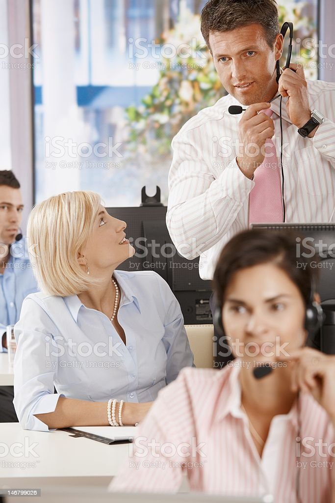 Manager at customer service stock photo