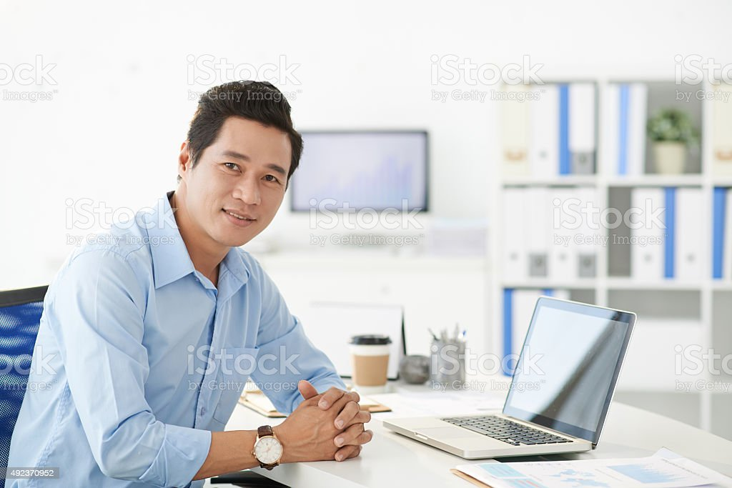 Manager at his workplace stock photo