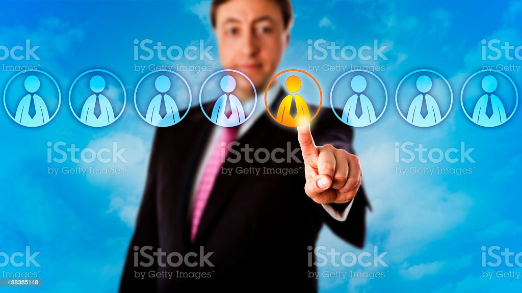 Manager Choosing One Worker In A Lineup Of Eight stock photo