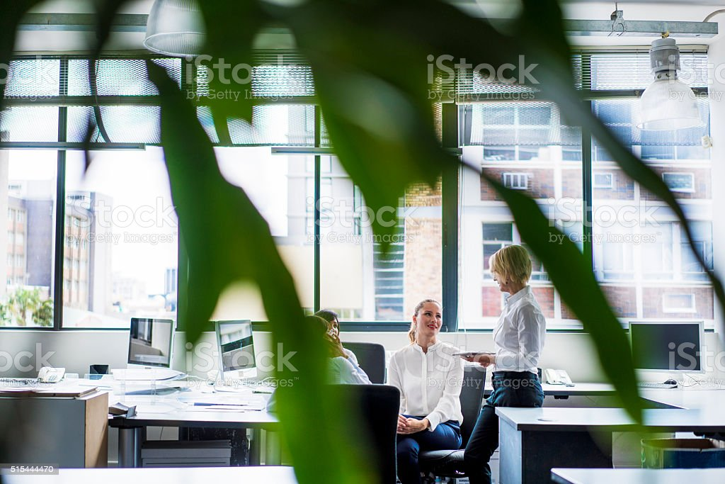 Manager discussing with executives in office stock photo