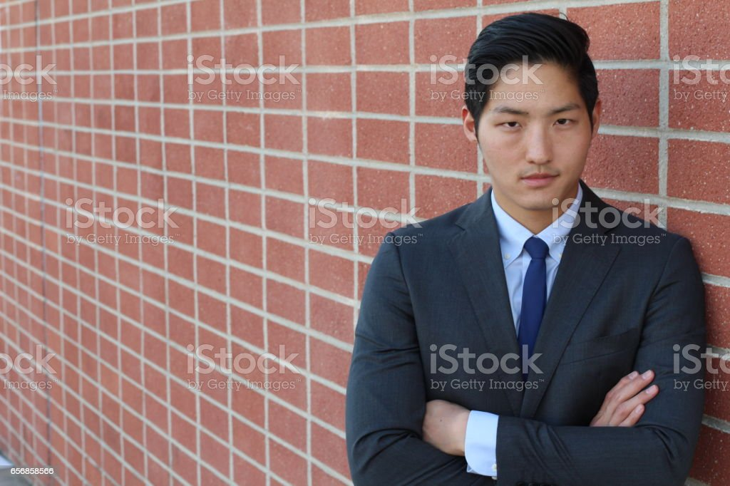Manager in blue jacket, shirt and necktie stock photo