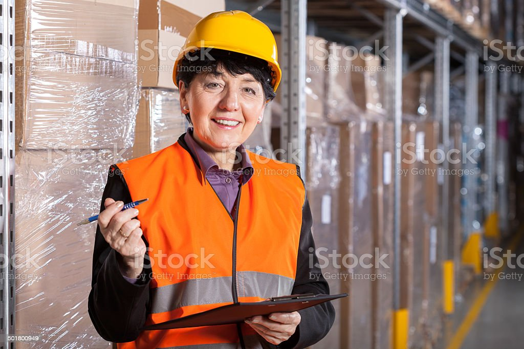 Manager in warehouse stock photo