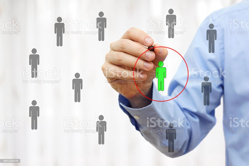 Manager is choosing competence person stock photo