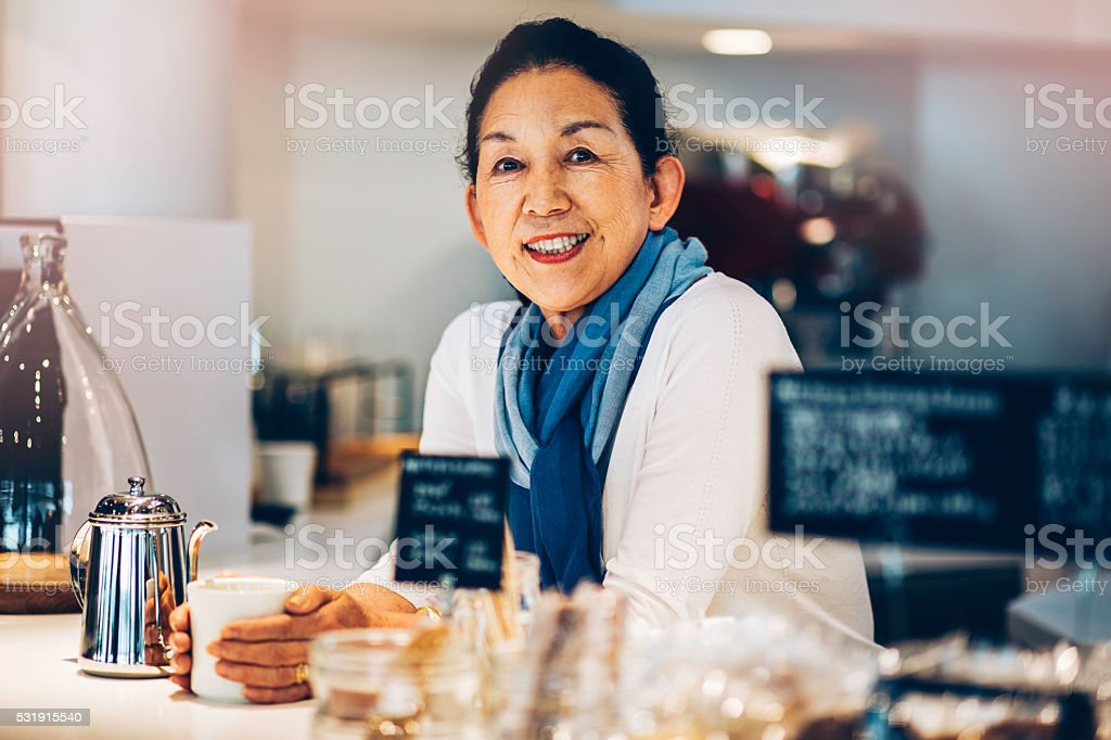 Manager of coffee shop stock photo