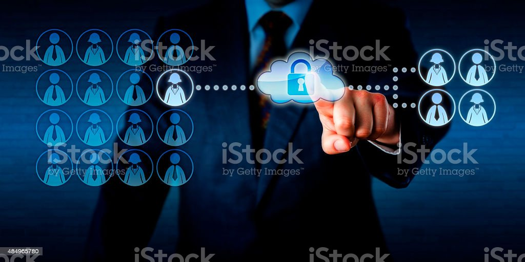 Manager Outsourcing A Work Task Via The Cloud stock photo