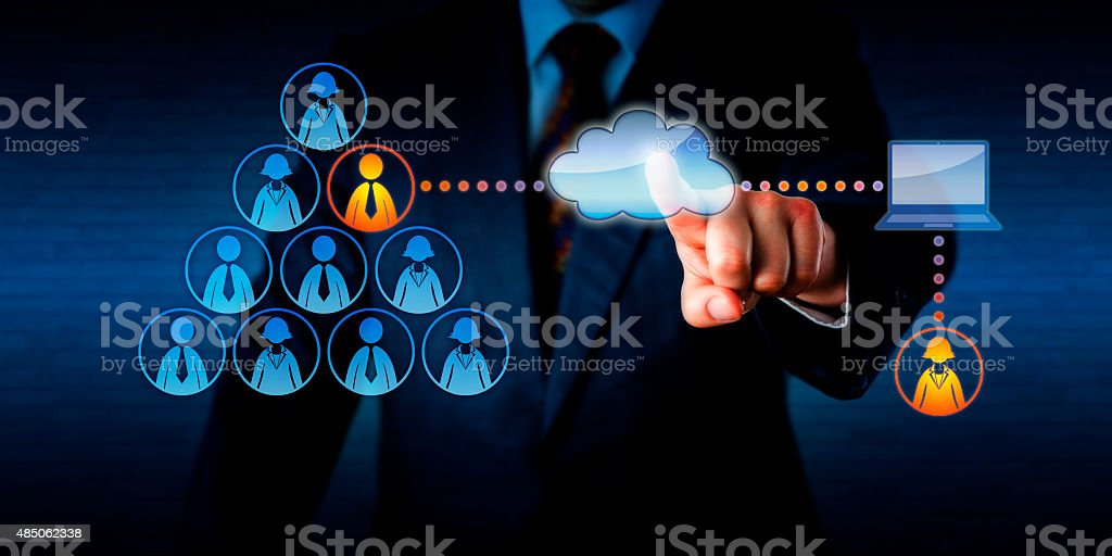 Manager Plugging-In A Remote Freelancer Via Cloud stock photo