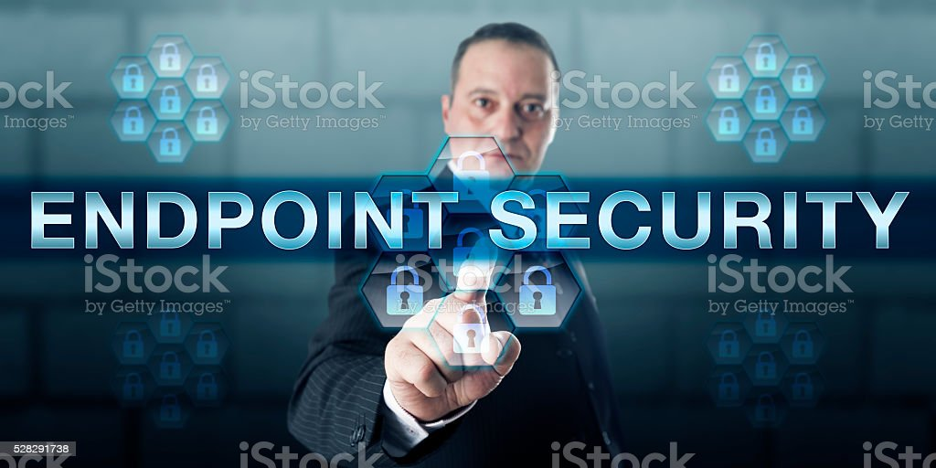 Manager Pushing ENDPOINT SECURITY stock photo