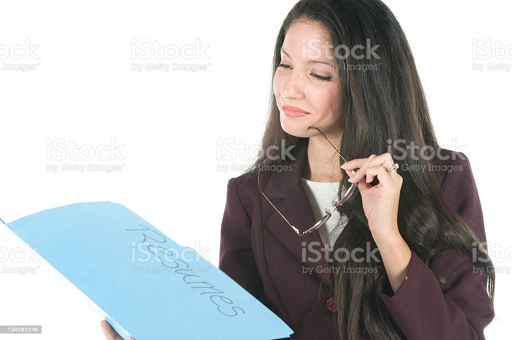 Manager Reviewing Resumes royalty-free stock photo