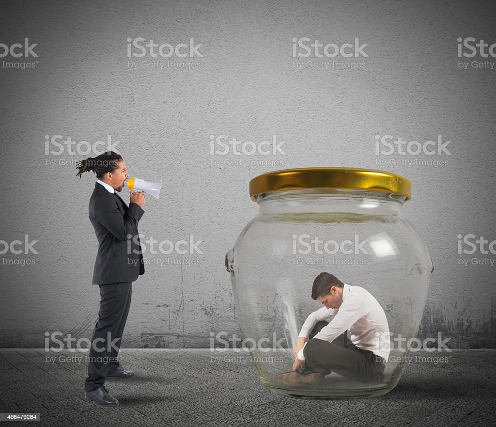 Manager scolds and humiliates stock photo