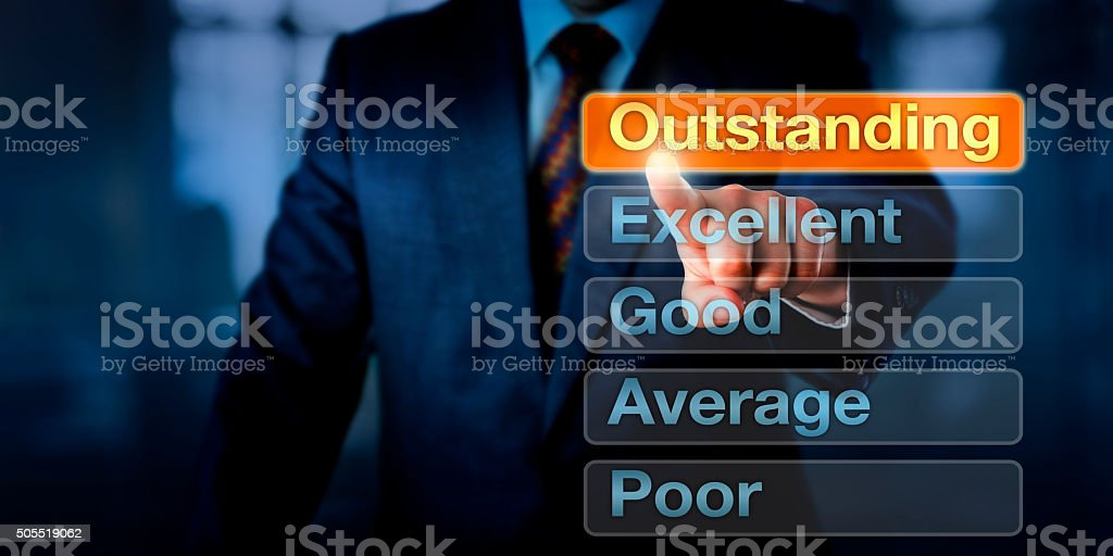 Manager Selecting Outstanding Button stock photo