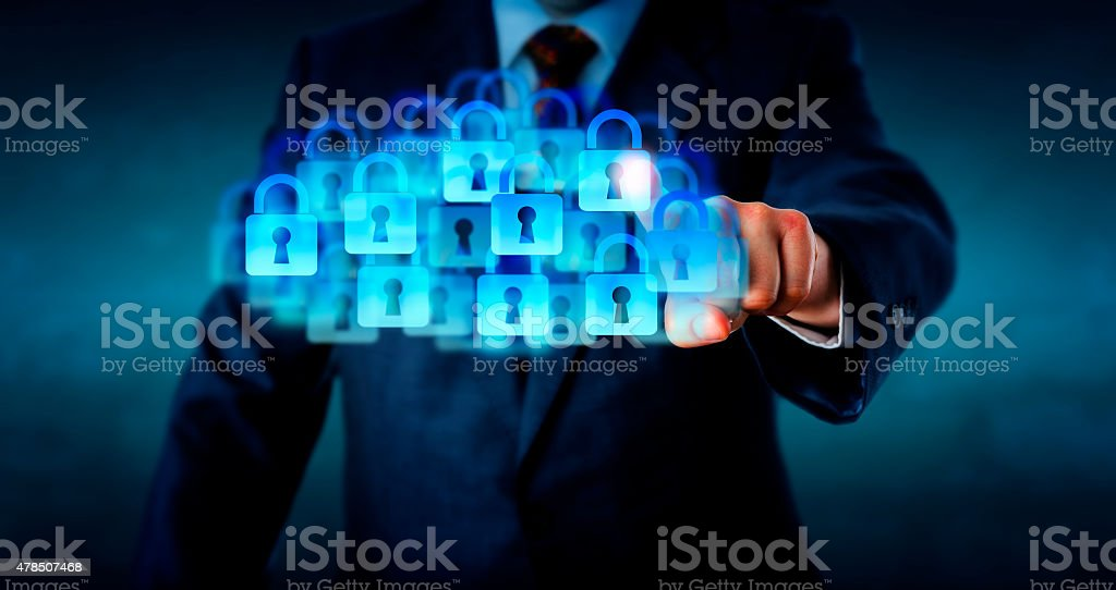 Manager Touching A Super Secure Cloud stock photo