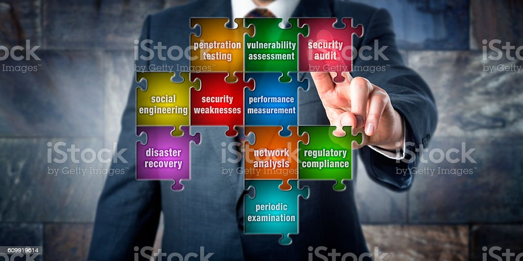 IT Manager Touching Security Audit In A Puzzle stock photo