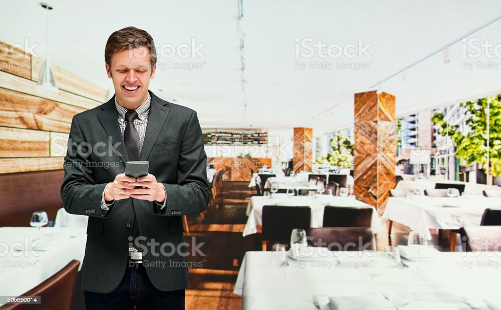 Manager using mobile phone stock photo
