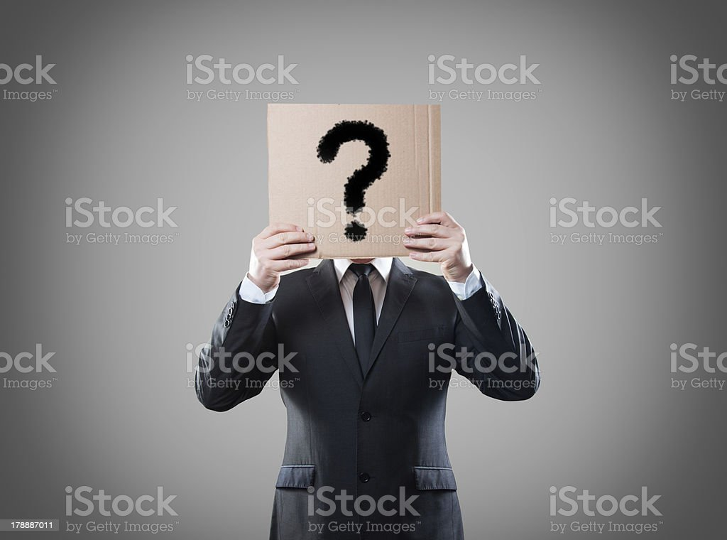 Manager with card question royalty-free stock photo