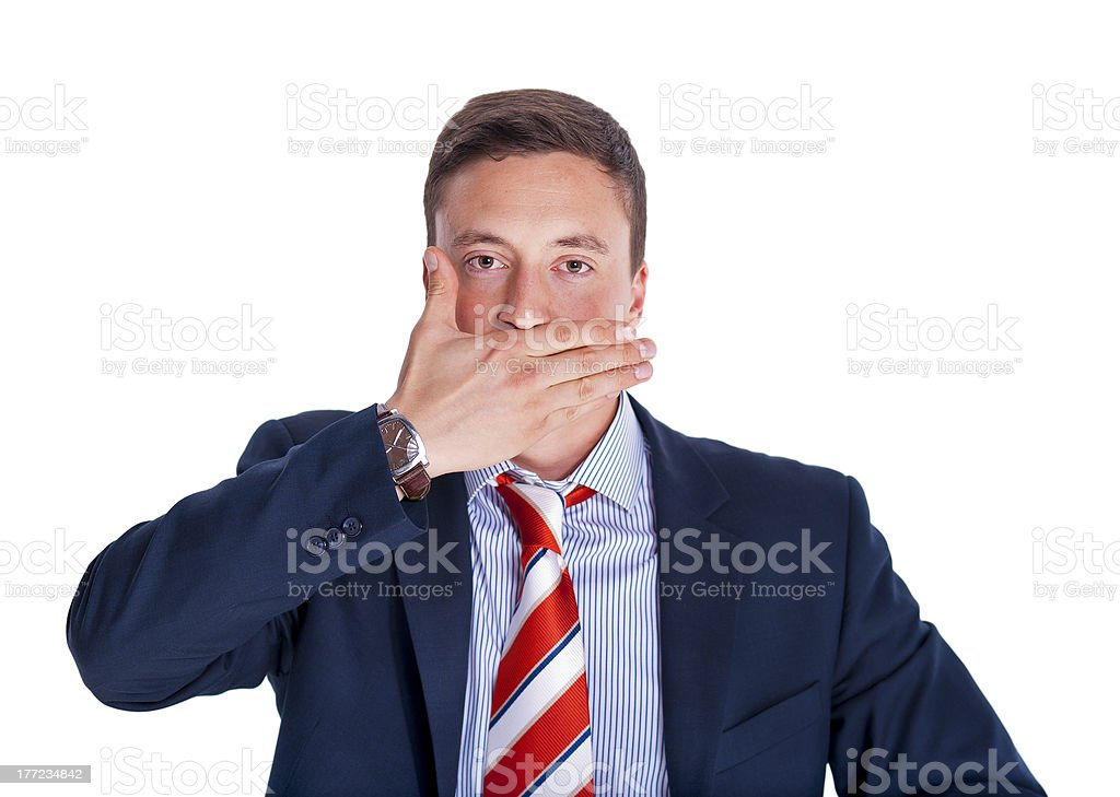 Manager with mouth closed stock photo