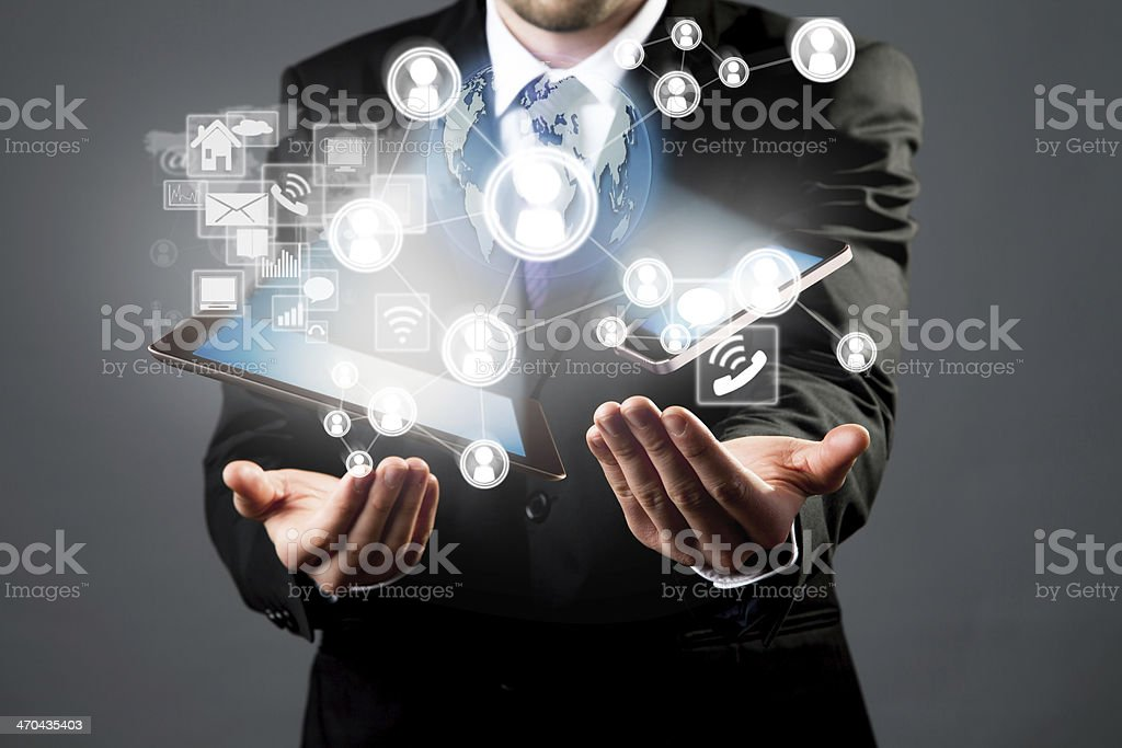 Manager with tablet and smart phone stock photo