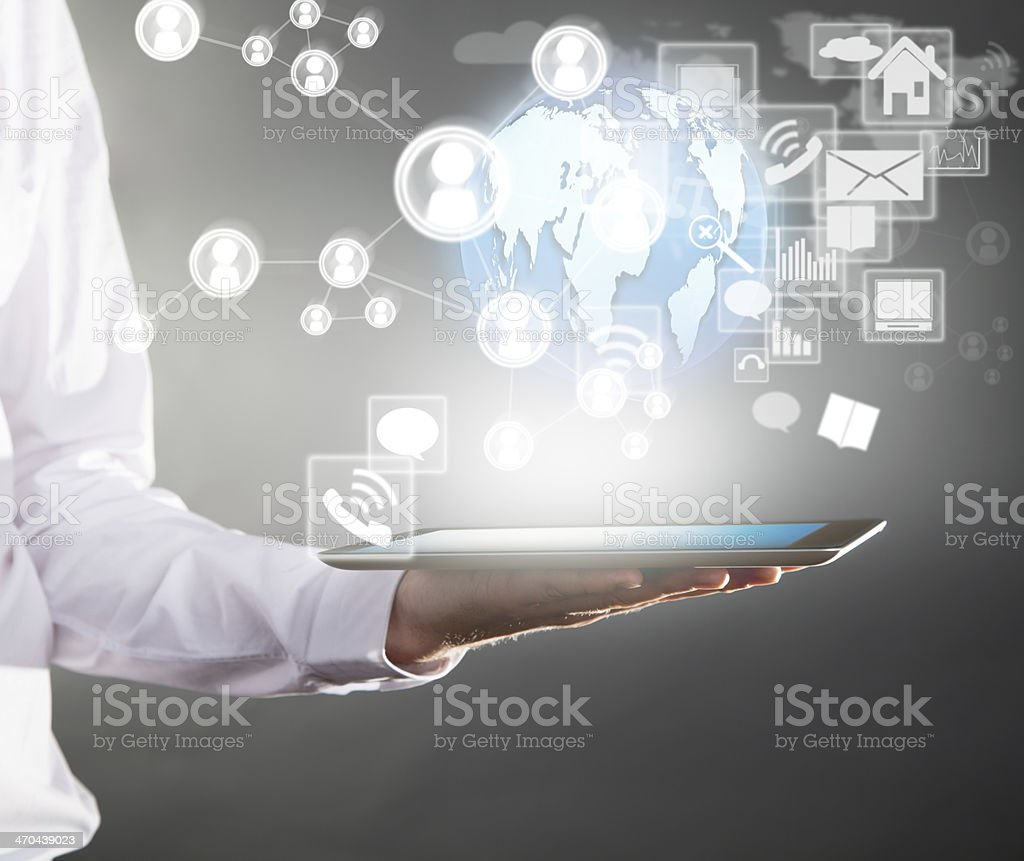 Manager with tablet stock photo