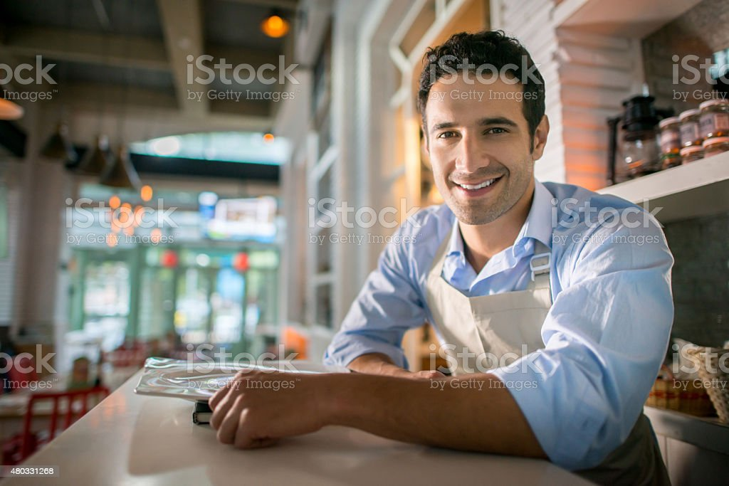 Manager working at a restaurant stock photo