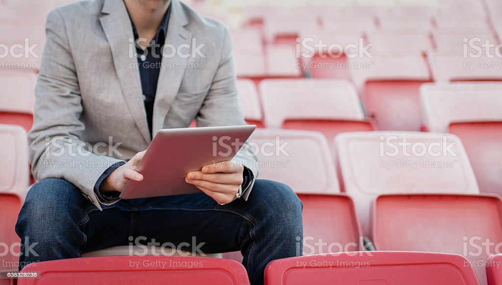 Manager works on tablet stock photo