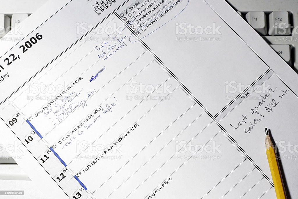 Manager's daily schedule royalty-free stock photo