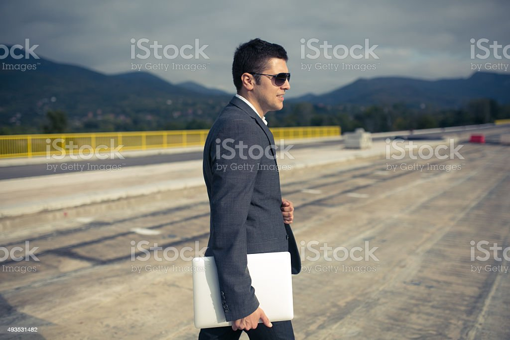 Managing And Supervising Road Construction Process stock photo