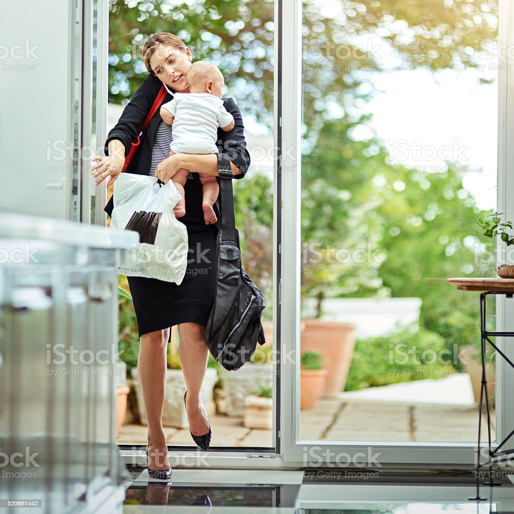 Managing business and home affairs stock photo