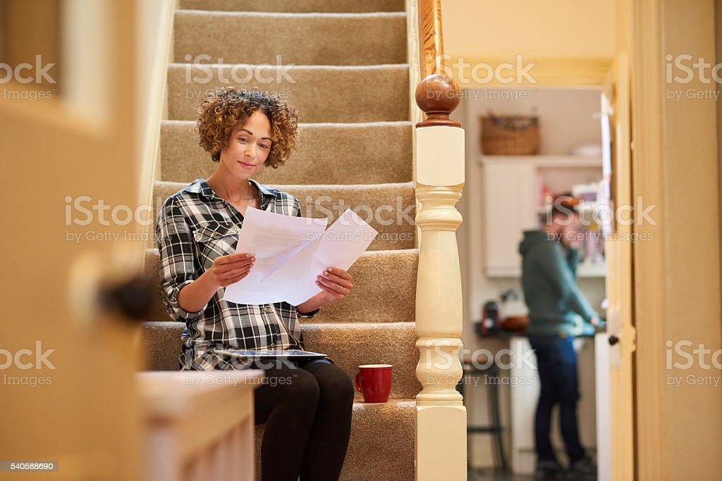 managing her finances stock photo