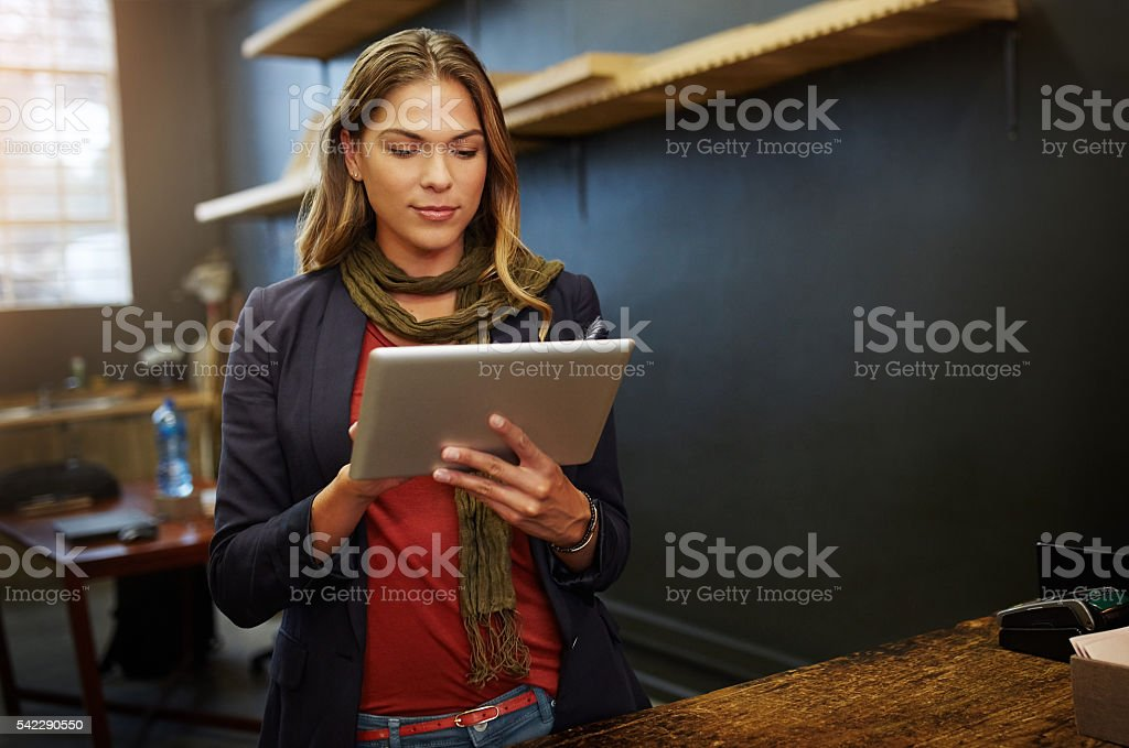 Managing my business online stock photo