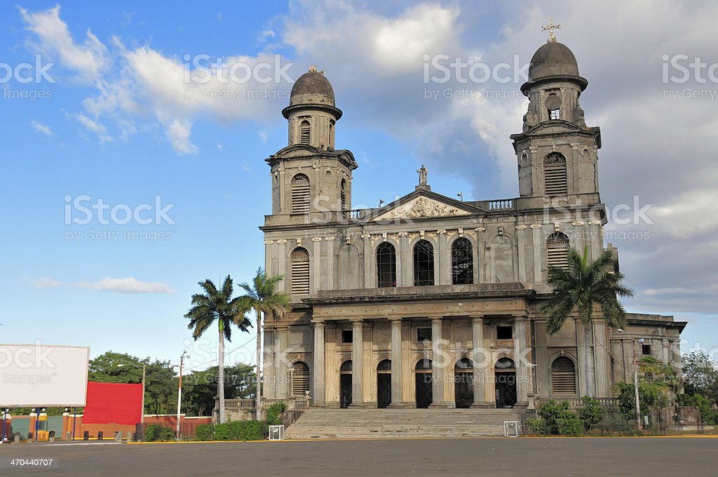 Managua, Nicaragua: facade of the Old Cathedral royalty-free stock photo