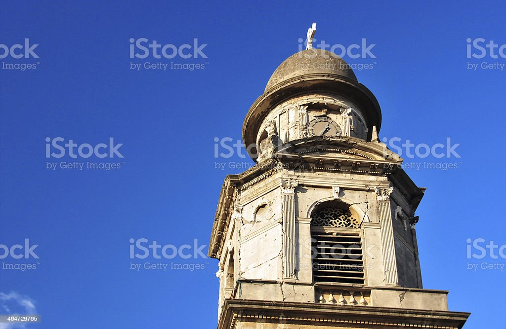 Managua, Nicaragua: Old Cathedral, bell tower stock photo
