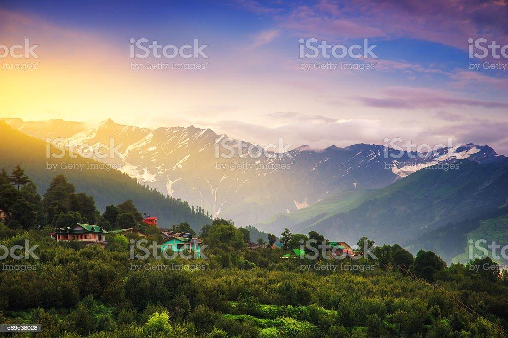 Manali town stock photo