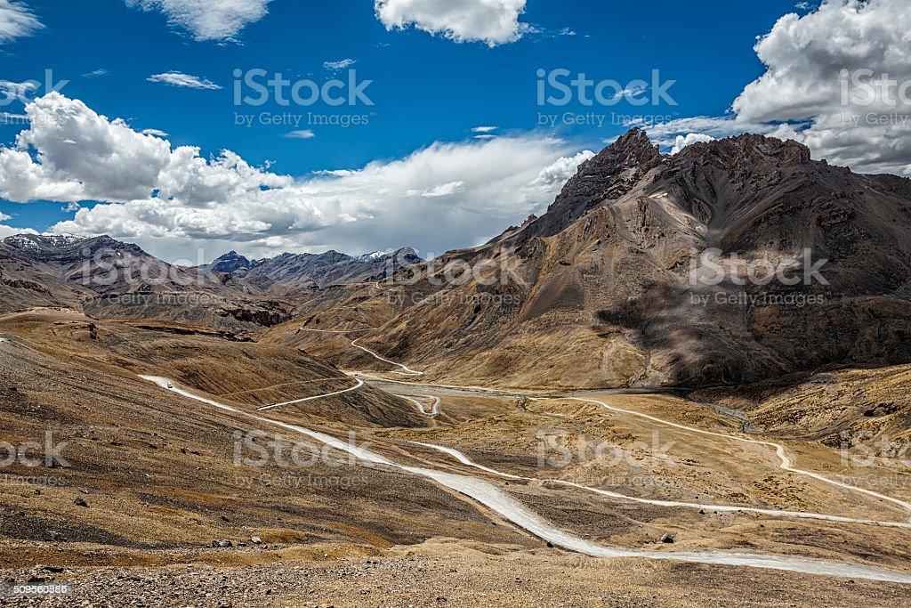Manali-Leh road in Himalayas stock photo