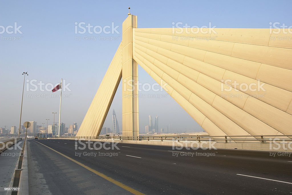 Manama scene from Shaikh Isa bin Salman bridge stock photo